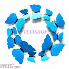 Бабочки 3D голубые на магните 12 шт