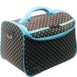 Сумка (чемодан) для мастера - коричневый в голубой горох с бантом