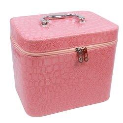 Чемоданчик для косметики YRE BIG лаковый - светло-розовый, 23х18х19 см (126-1)