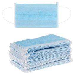 Маска защитная одноразовая нетканная, голубой, 50 шт