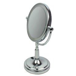 Косметическое зеркало - двустороннее, с подсветкой, серебро 34 см (009Z)