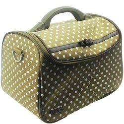 Сумка (чемодан) для мастера - оливковый в серый горох с бантом