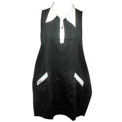 Фартук ESTET С белым воротничком двойной черный 2 кармана 73х78 см