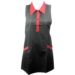 Фартук ESTET С бордовым воротничком двойной черный 2 кармана 73х78 см
