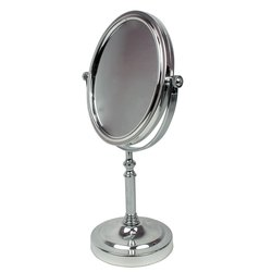 Косметическое зеркало - двустороннее,серебро (7123)