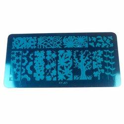 Пластина-трафарет для стемпинга YRE XY-J01 металл, синий