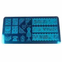 Пластина-трафарет для стемпинга YRE XY-J07 металл, синий