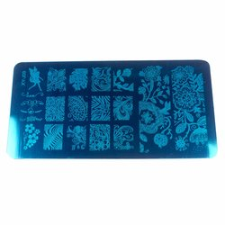 Пластина-трафарет для стемпинга YRE XY-J09 металл, синий