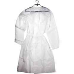 Халат на кнопках с полупоясом L-XL, белый