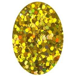 Блестка шестиугольник - золото голографик, 1 мм