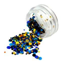 Конфетти для дизайна ногтей, синий-голубой-золото
