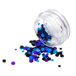 Конфетти для дизайна ногтей, фиолетовый-голубой-черный