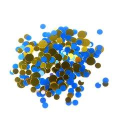 Конфетти для дизайна ногтей, сине-золотой