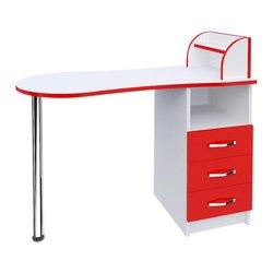 """Маникюрный стол """"Естет №3"""" MAX, белый с красным"""
