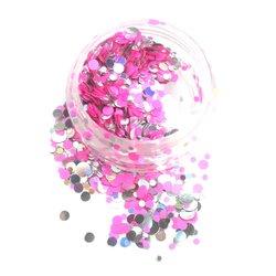 Конфетти для дизайна ногтей YRE, розовый-серебро