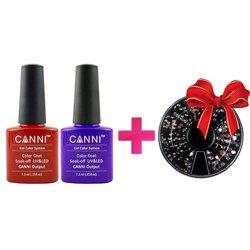 ТуфиШок: 2 гель-лака Canni + стразы для декора в кассете в подарок