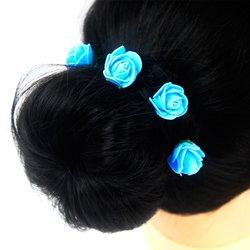 Шпилька для волос, фоамиран цветок - голубой, 2,5см