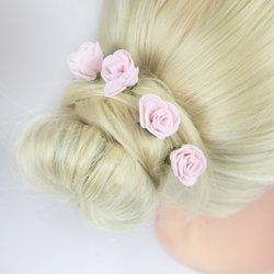Шпилька для волос, фоамиран цветок - розовый, 2,5см