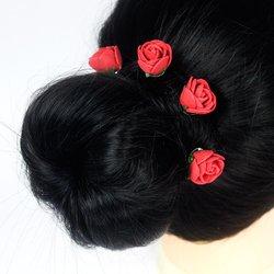 Шпилька для волос, фоамиран цветок - красный, 2,5см, 1 шт