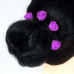 Шпилька для волос, фоамиран цветок -  сиреневый, 2,5см