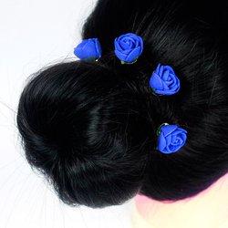 Шпилька для волос, фоамиран цветок - синий, 2,5см, 1 шт