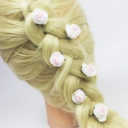 Шпилька для волос, фоамиран цветок - бело-розовый 2,5см, 1 шт