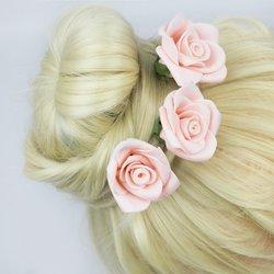 Шпилька для волос, фоамиран цветок - розовый высокий, 4 см, 1 шт
