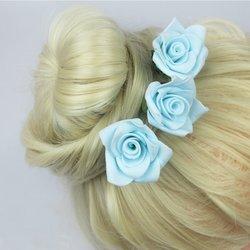 Шпилька для волос, фоамиран цветок - голубой высокий, 4 см, 1 шт