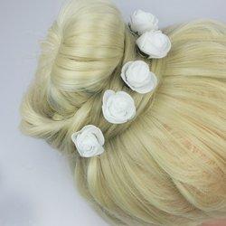 Шпилька для волос, фоамиран цветок - белый, 2,5см, 1 шт