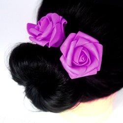 Шпилька для волос, фоамиран цветок - фиолетовый, 5см