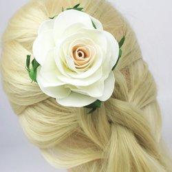 Фоамиран цветок - бело-розовый, 9 см, 1 шт