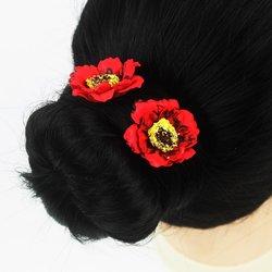 Шпилька для волос - цветок, маленький - красный, 1 шт