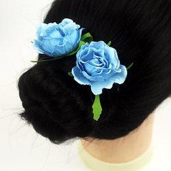 Шпилька для волос - цветок, большой - голубой, 1 шт