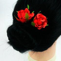 Шпилька для волос - цветок, большой - красный, 1 шт