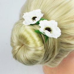Шпилька для волос - цветок, маленький - белый, 1 шт