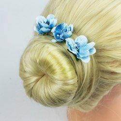 Шпилька для волос - цветок, голубой