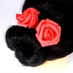 Шпилька для волос, фоамиран цветок - красный, 5см