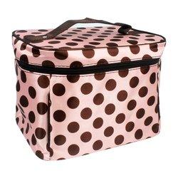 Косметичка-чемоданчик - розовый в коричневый горошек (CR-498)
