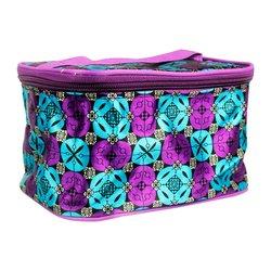 Косметичка-чемоданчик - фиолетово-голубой узор маленький (CR-466)