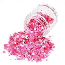 Конфетти для дизайна ногтей в баночке большой, бело-розовый