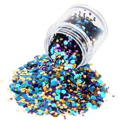 Конфетти для дизайна ногтей в баночке большой, фиолетовый-голубой-золото