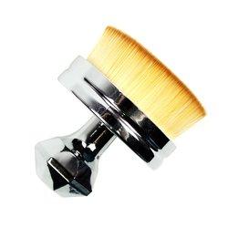 Кисть для макияжа универсальная округлая серебристая