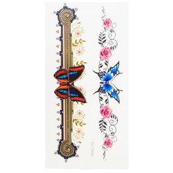 Флеш-тату Цветной блик YC-TY001 бабочки с орнаментом