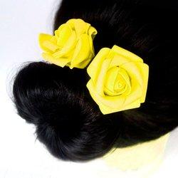 Шпилька для волос, фоамиран цветок - желтый, 5см, 1 шт
