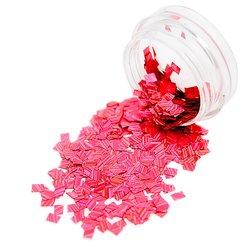 Конфетти в баночке для дизайна ногтей, прямоугольник розовый голографик