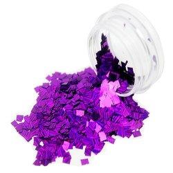 Конфетти в баночке для дизайна ногтей, прямоугольник фиолетовый голографик