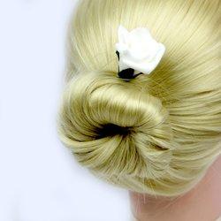 Шпилька для волос, фоамиран цветок - белый высокий, 4 см, 1 шт