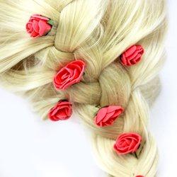 Цветы из фоамирана,с эластичным креплением  - красный, 1 шт