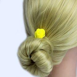 Шпилька для волос, фоамиран цветок - желтый, 2,5см, 1 шт