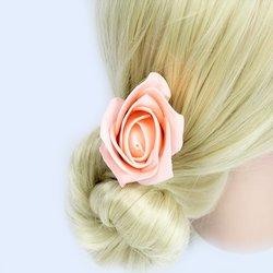 Заколка, фоамиран цветок - розовый высокий, 5см, 1 шт